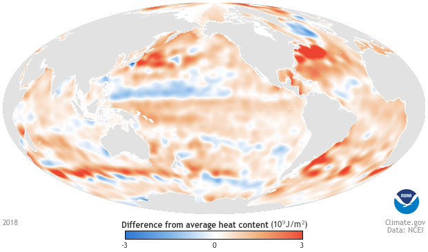 global map of oceans in 2018 showing places with above average heat content in orange and below-average heat content in blue