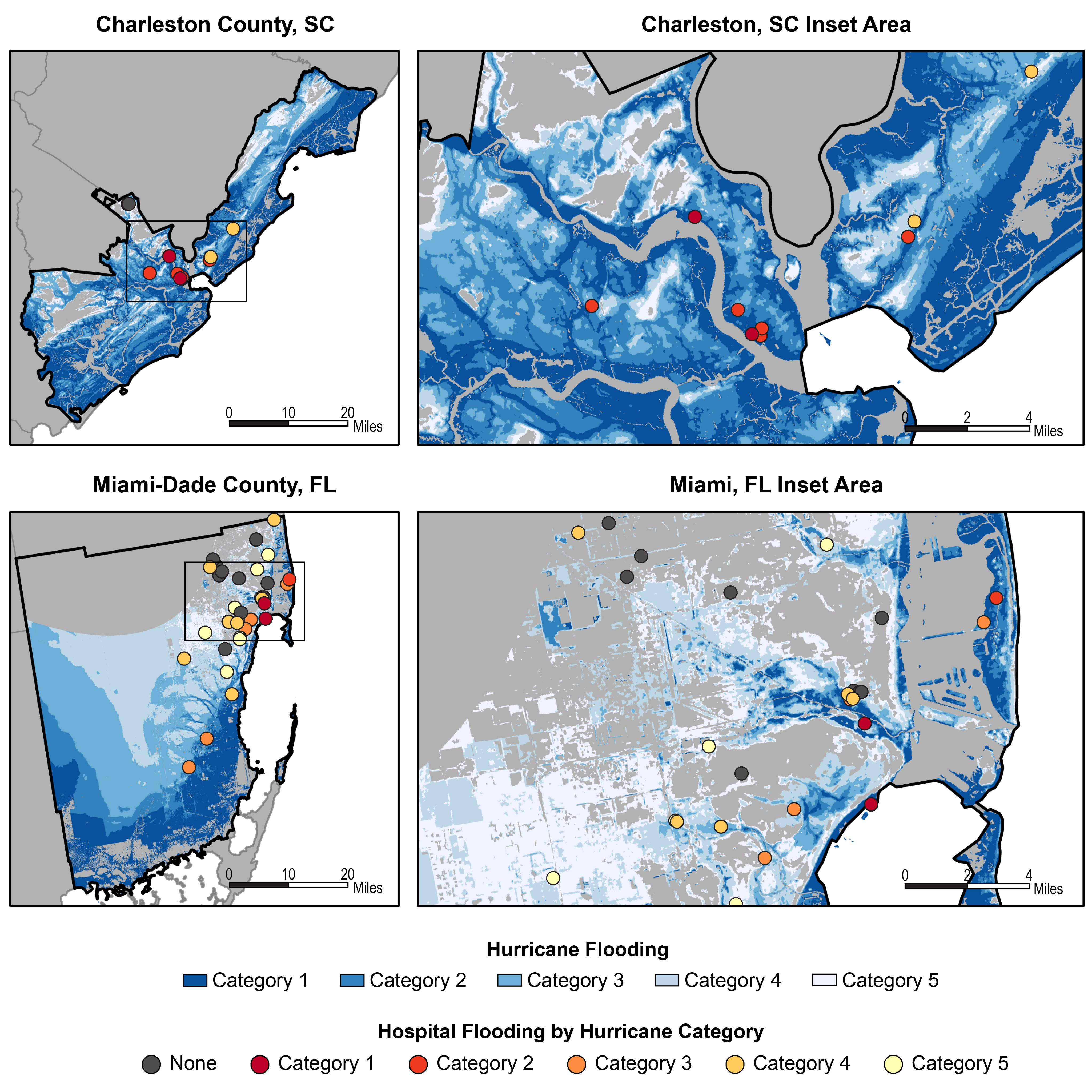 Projected flood effects on hospitals in Miami and Charleston