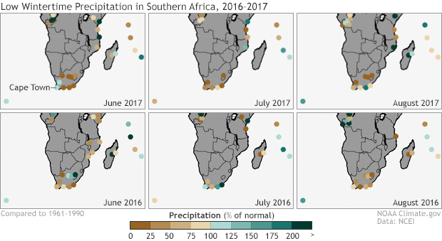 Maps showing low precipitation during Cape town's rainy season