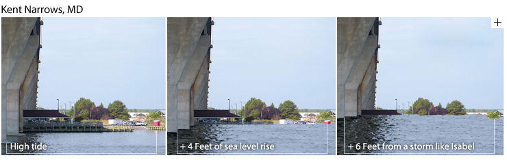 Three-frame visualization of sea level rise at Kent Narrows