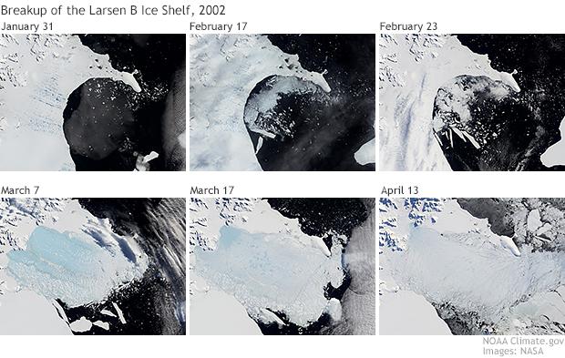 Larsen B Ice Shelf disintegration sequence