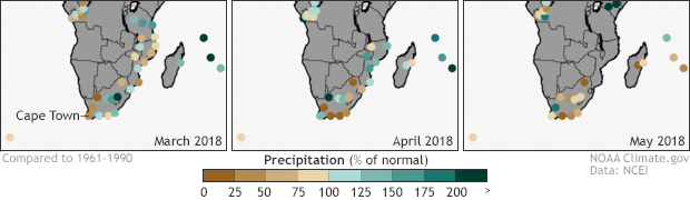 Precipitation maps for southern Africa