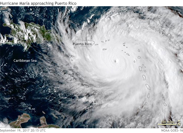 satellite image of Hurricane Maria draped over the Lesser Antilles, southeast of Puerto Rico