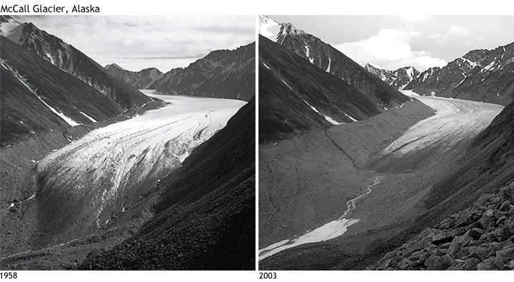 Comparison photos show retreat of Alaska's McCall Glacier between 1958 and 2003