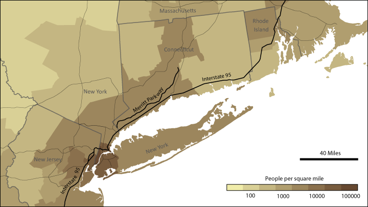 Population density and major roads of New England
