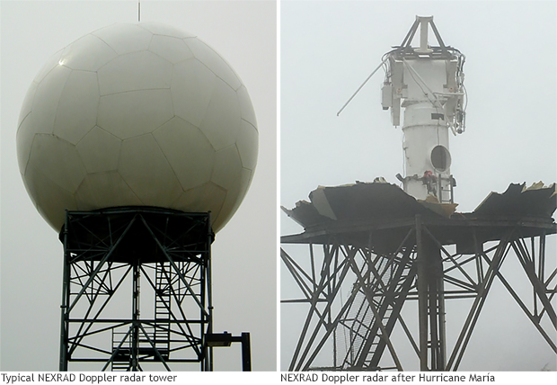 photo comparison of an intact Nexrad radar and the one on Puerto Rico that was destroyed by Hurricane Maria