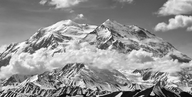 black and white photo of Denali (Mt. McKinley) in the Alaska Range Mountains