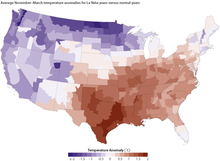 Map of U.S. shows average November-March temperature anomalies for La Niña years versus normal years