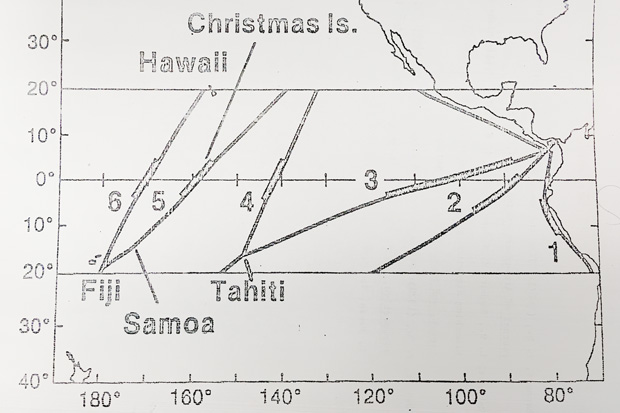 Photo of a graphic in an archived paper from the CPC showing a diagram of ship tracks through the tropical Pacific