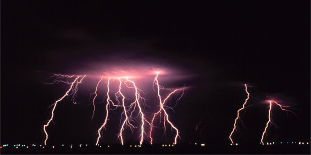 Time-lapse photography of a thunderstorm