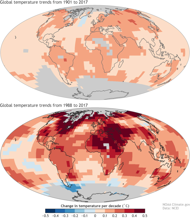 Pair of maps showing global warming trends from 1901-2017 compared to trends from 1988 to 2017