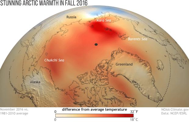November 2016 temperature anomalies