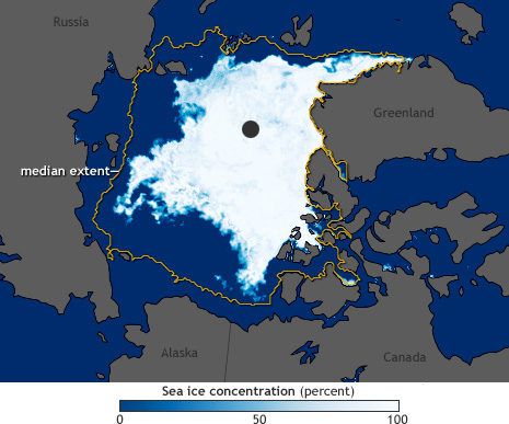 Satellite view of Arctic Sea Ice concentration below median extent