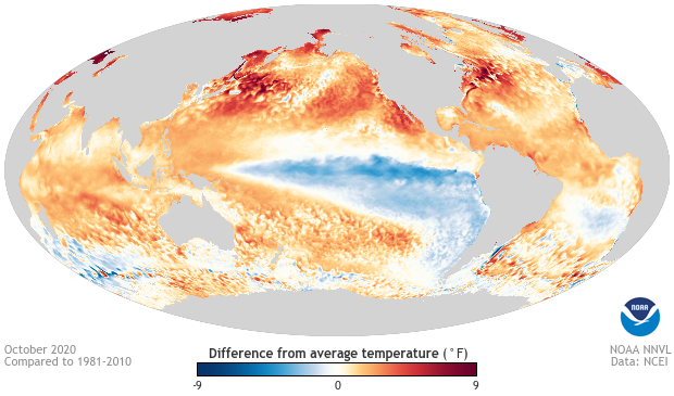 Global ocean temperature anomalies, October 2020