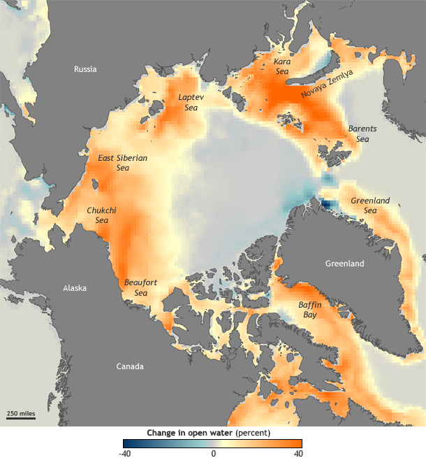 Map of Arctic ocean areas showing a trend toward more open water (orange) or more ice (blue)