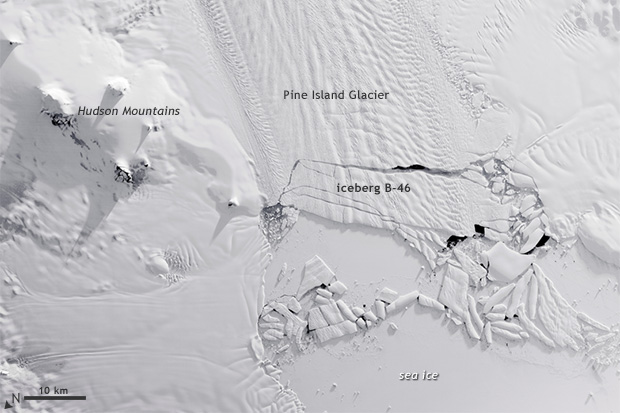 Satellie view of the calving front of Pine Island Glacier as a massive iceberg splits off