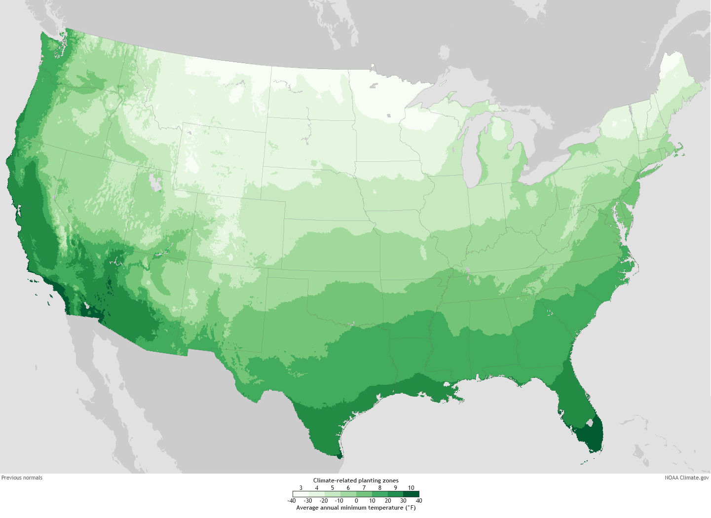 Old climate-related planting zones