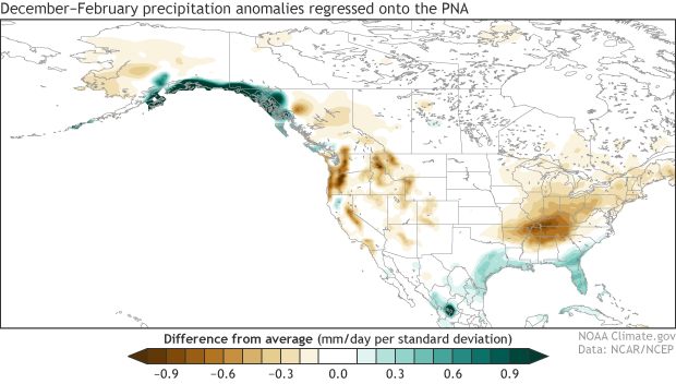 precipitation anomalies associated with the positive PNA