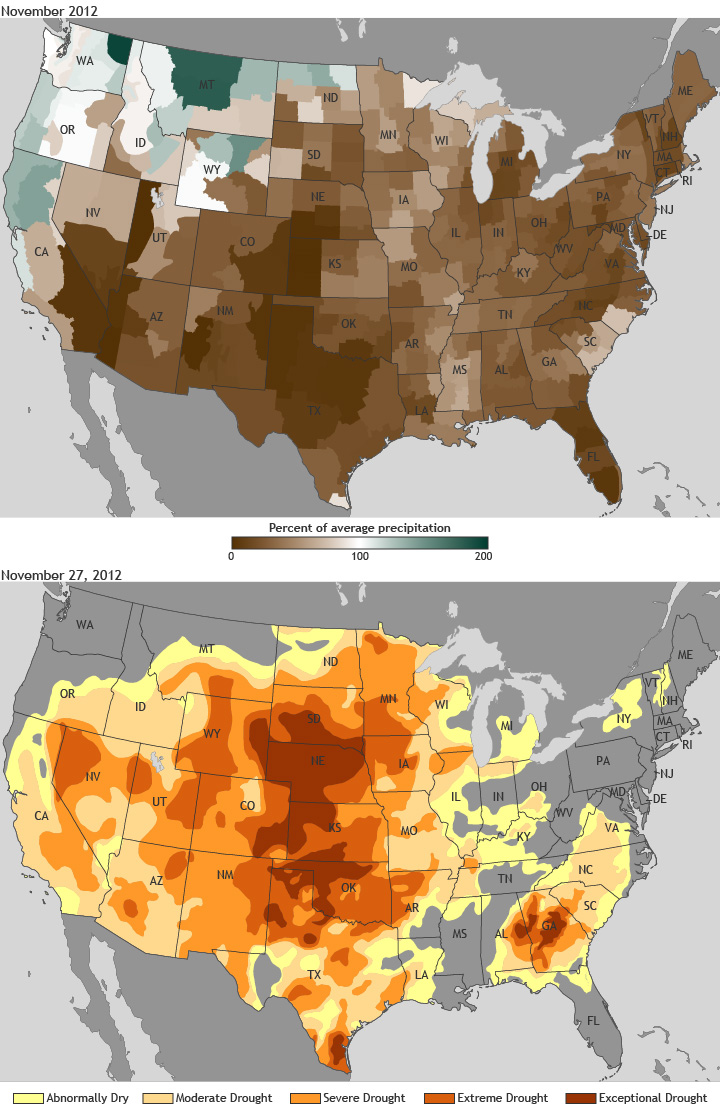 maps of November 2012 precipitation anomaly (top) and drought conditions as of November 27