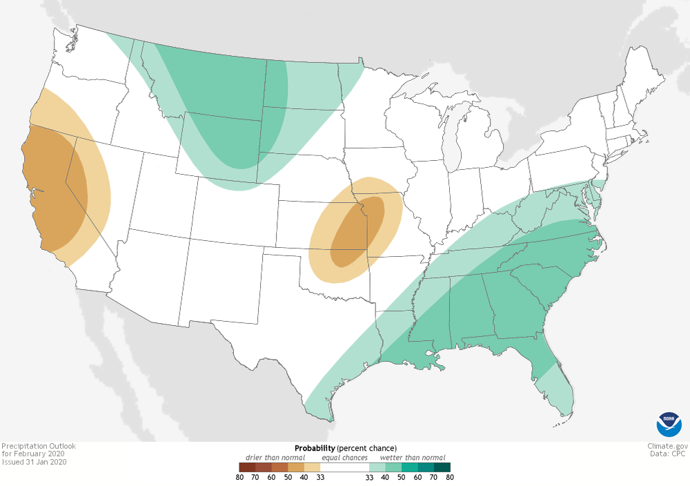 A map of the CONUS with shaded contours showing increasing chances of above or below average precipitation