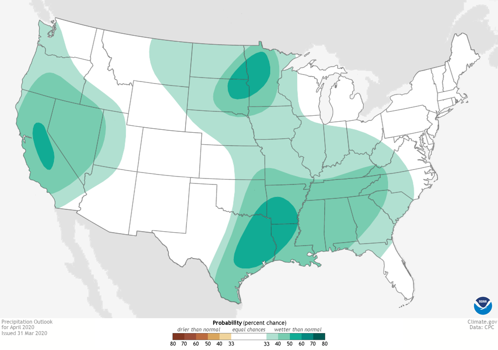 U.S. map showing outlook for above or below average precipitation for April 2020