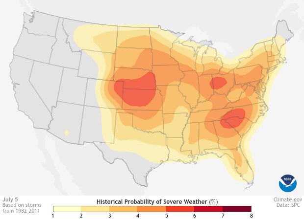 Example Historical Probability of Severe Weather Image