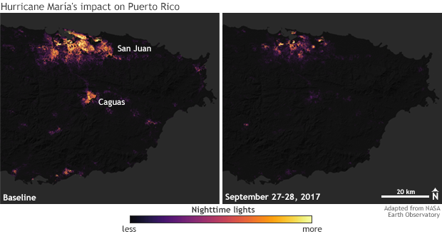 Color-coded satellite maps of density of city lights in eastern Puerto Rico before and after Hurricane María