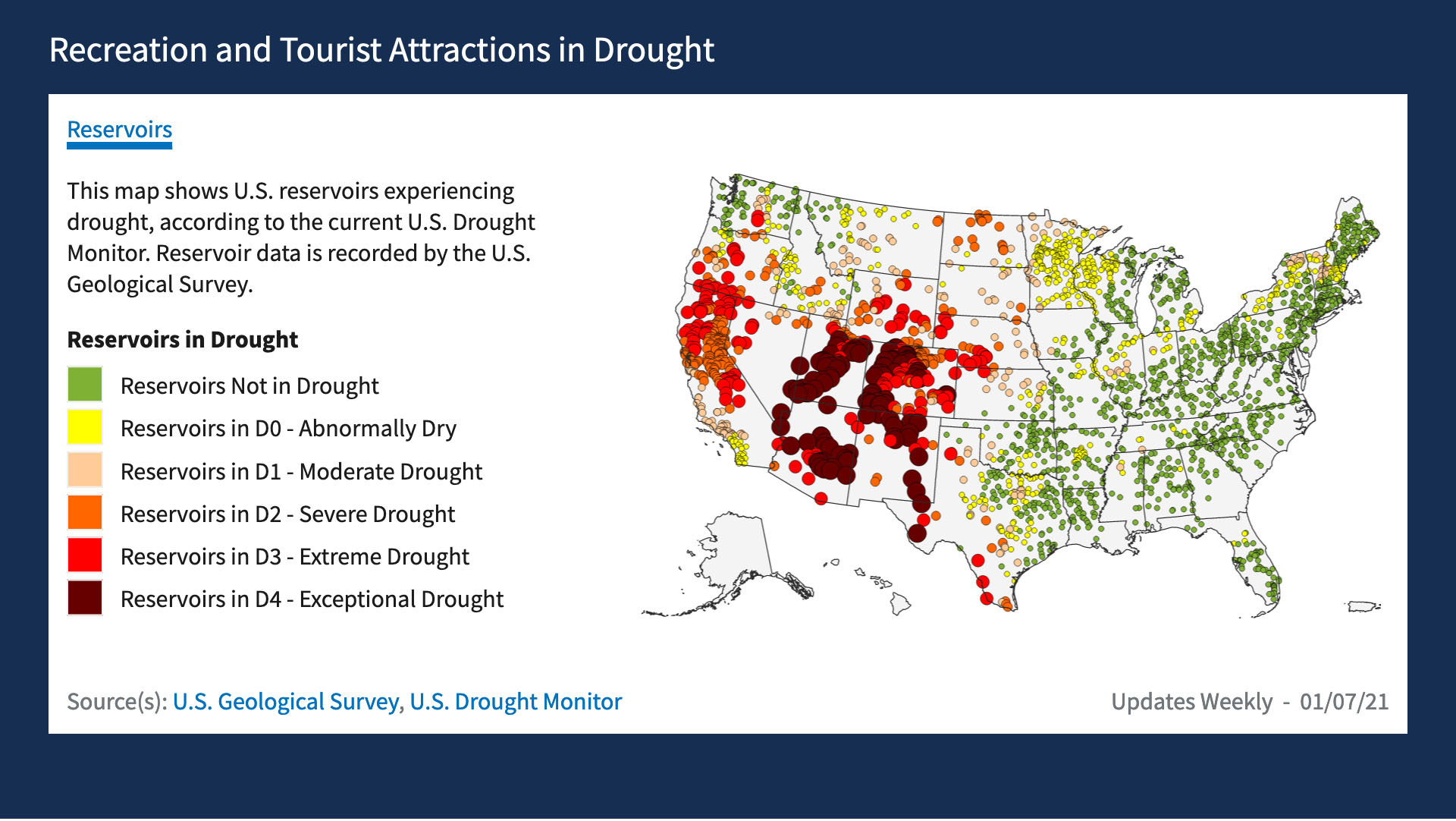 Screenshot of Drought.gov map interface showing U.S. reservoirs experiencing drought