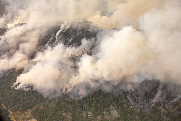 A smoky wildfire burning in Boise National Forest, Idaho.