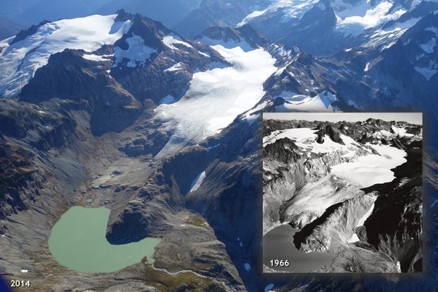 photo of South Cascades Glacier in Washington in 2014, with a black and white inset of the glacier in 1966