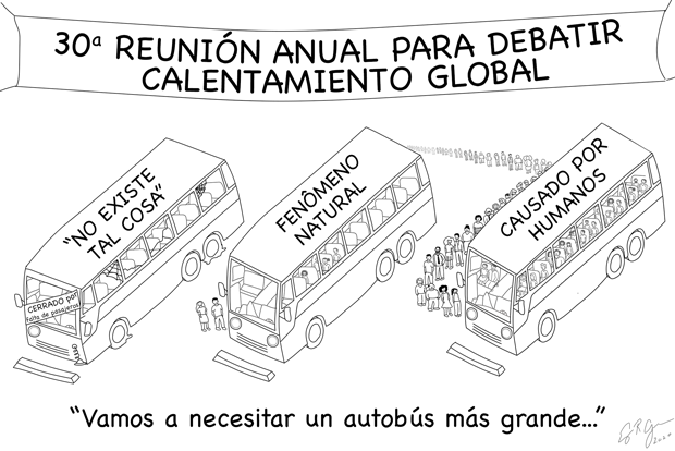 """cartoon showing large number of riders boarding a """"global warming is human-caused"""" bus"""
