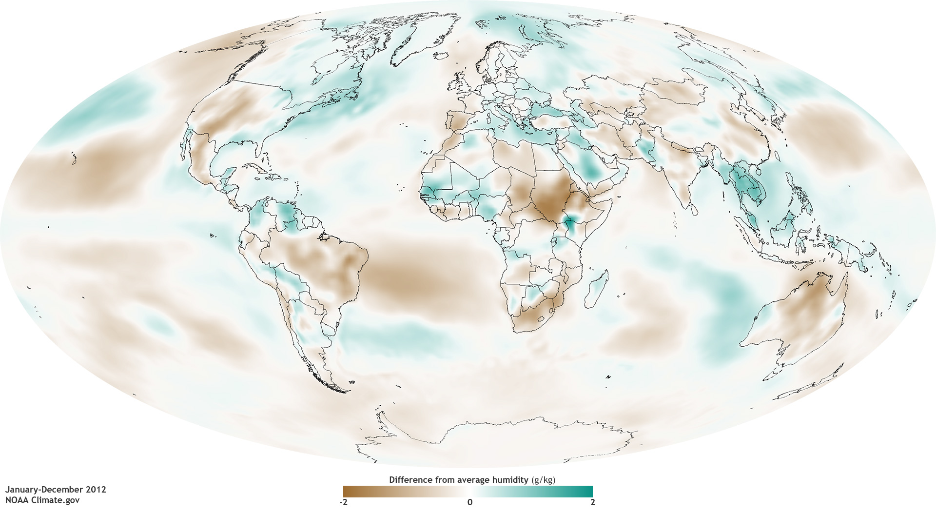 State Of The Climate Humidity NOAA Climategov - Us average annual humidity map