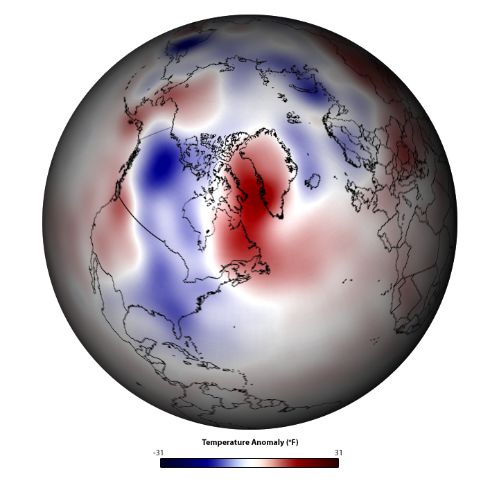 Globe with temperature anomalies