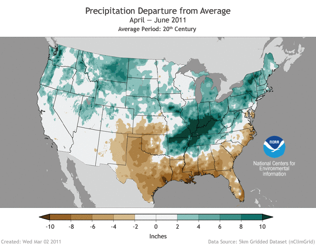Map of contiguous United States showing precipitation anomalies in spring 2011