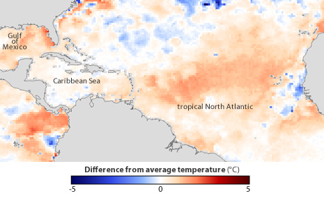 Map of ocean temperature anomalies in tropical N. Atlantic on May 16, 2011