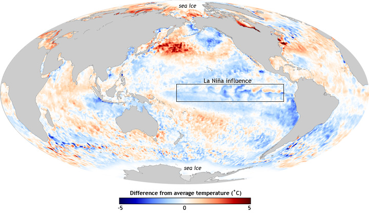 global map of SST anomaly, centered on Pacific Ocean