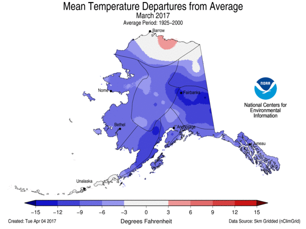 Departure from normal temperature, Alaska, March 2017