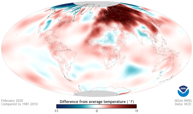 temperatures, February, global, temperature anomaly