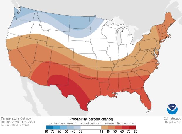 Temperature, Winter Outlook, 2020-2021