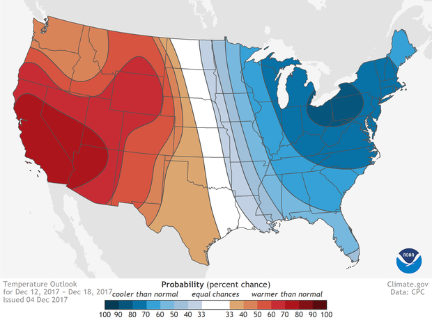 Temperature, outlook, week 2, United States, cold, hot