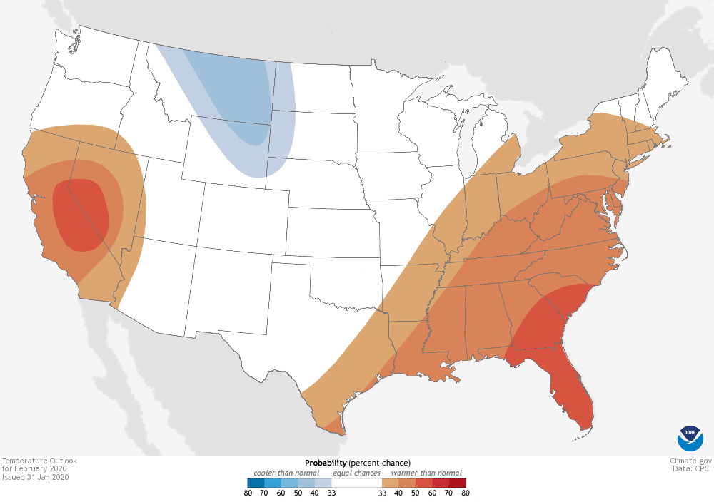 A map of the CONUS with shaded contours showing increasing chances of above or below average temperature