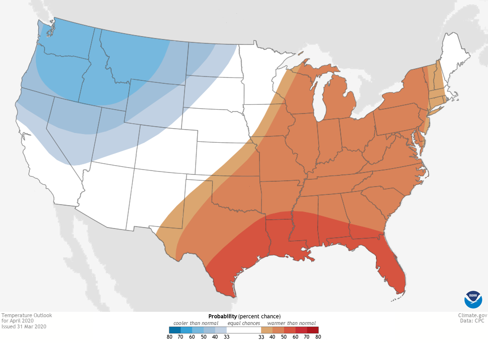 Map of the CONUS showing where temperatures were projected to be warmer or cooler than average in April 2020