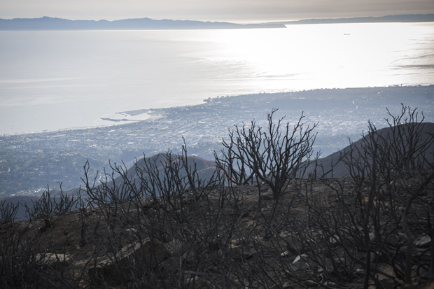photo from a scorched ridge above Santa Barbara looking across the Santa Barbara Channel