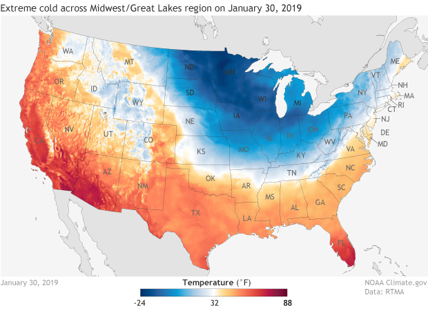2-meter daytime high temperature on January 30, 2019, from RTMA data