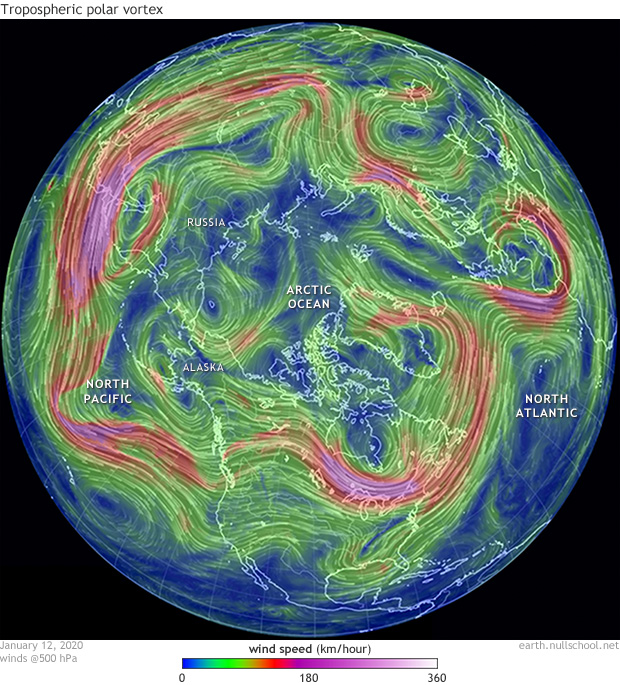 500hPa winds over the Northern Hemisphere