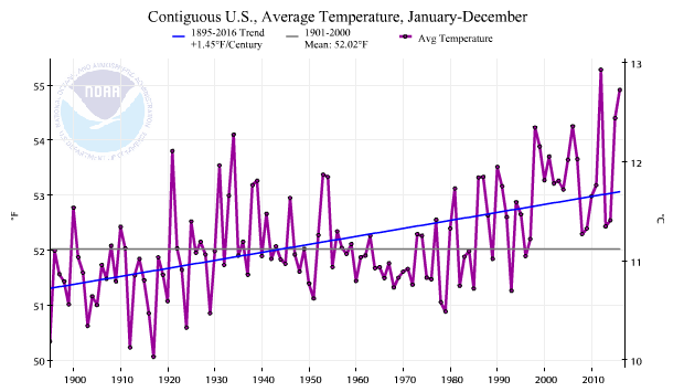 Timeseries depicting the annual average temperature for the contiguous United States for each year from 1895 through 2016, with a linear trend superimposed