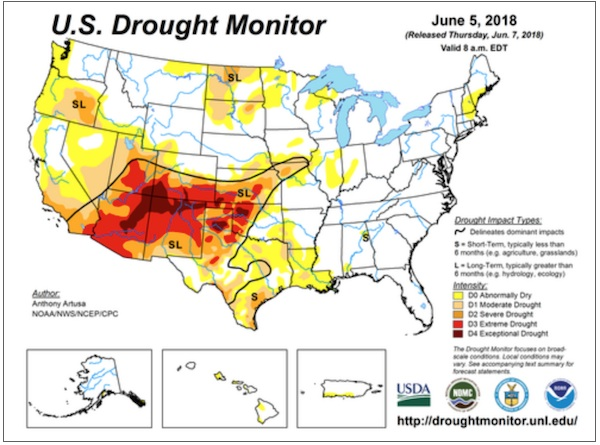 Weekly Drought Map | NOAA Climate.gov on fire map, world map, water consumption map, groundwater depletion map, famine map, us groundwater map, tsunami map, lightning map, tropical cyclone map, sea level rise map, 7 continents map, wildfire map, rainfall map, water quality map, volcano map, weather map, flooding map, humid map, climate map, seismic activity map,