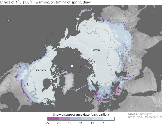 Global map of impact of warming on spring thaw of winter snowpack