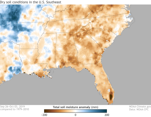 Soil moisture, drought, dryness, southeastern United States
