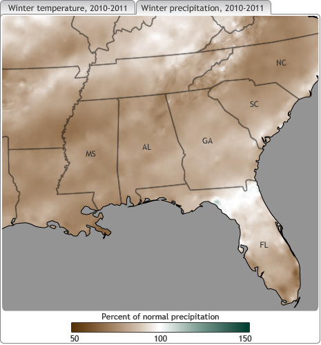 map of US Southeast showing shades of brown and green where winter 2010-2011 precipitation was below or above average